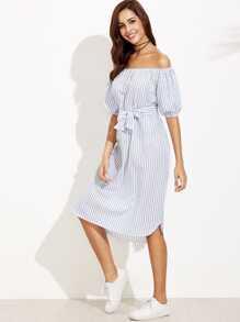 Vertical Striped Bardot Bow Tie Dress