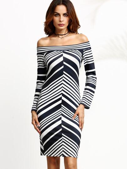 Striped Off The Shoulder Sheath Dress