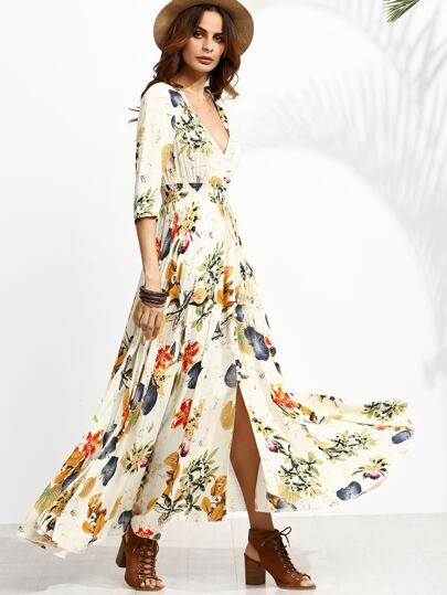 Jungle Print Plunge Neck Drawstring Button Front Maxi Dress