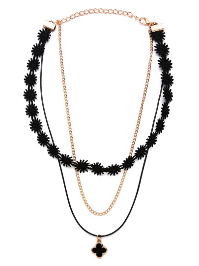 Black Clover Pendant Layered Lace Choker Necklace