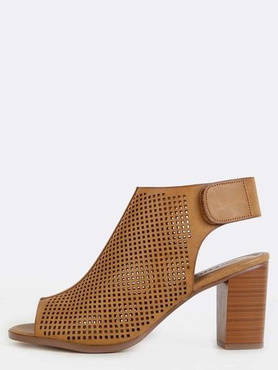Preforated Stacked Heel Booties TAN