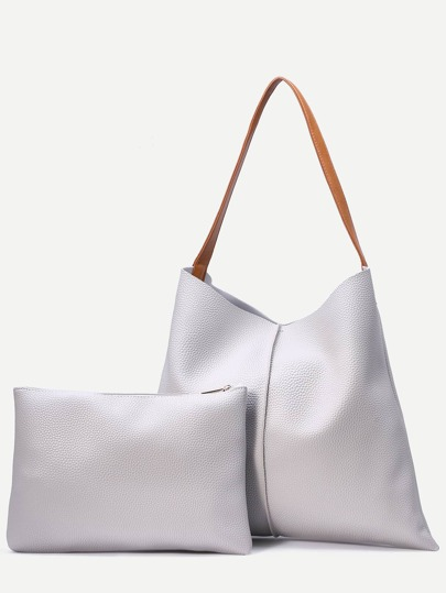 Light Grey Pebbled Faux Leather Tote Bag With Clutch