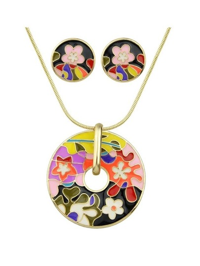 Black Enamel Flower Pattern Necklace Earrings Set