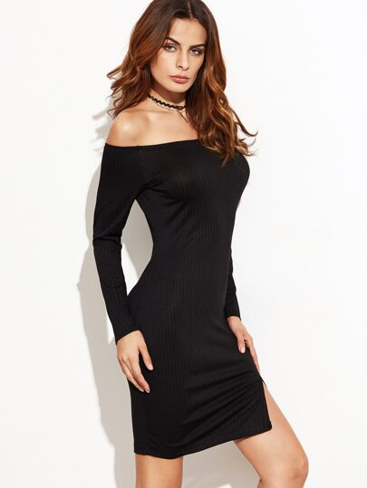 Black Off The Shoulder Slit Hem Ribbed Dress