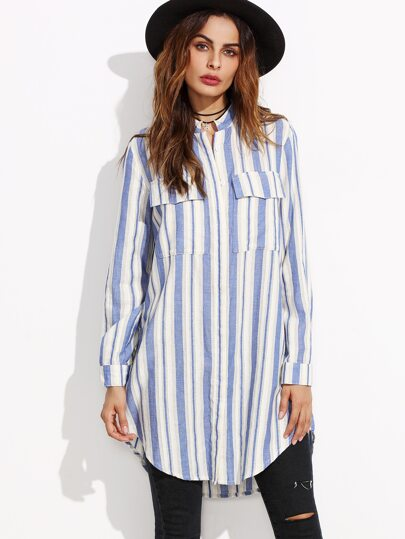 Blue Vertical Striped Hidden Button Equipment Blouse