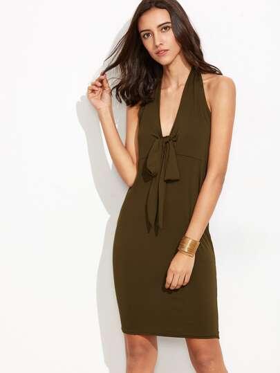 Army Green Halter Open Back Bow Tie Sheath Dress