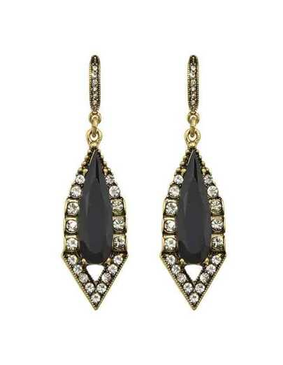 Black Rhinestone Long Drop Earrings