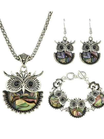 New Coming Stone Owl Shape Jewelry Set
