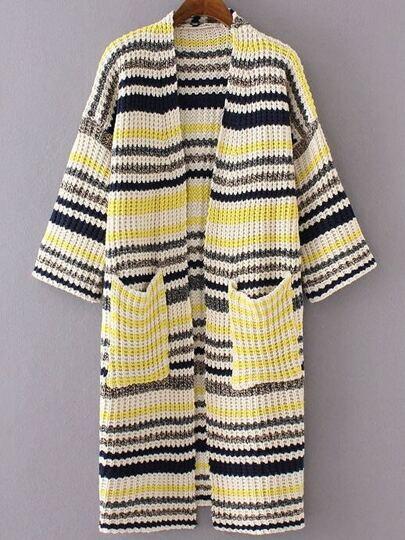 Yellow Mixed Stripe Collarless Drop Shoulder Long Sweater Coat
