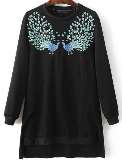 Black Peacock Print Split Side High Low Sweatshirt
