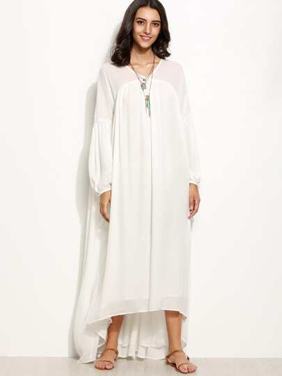 White Lantern Sleeve High Low Tent Dress