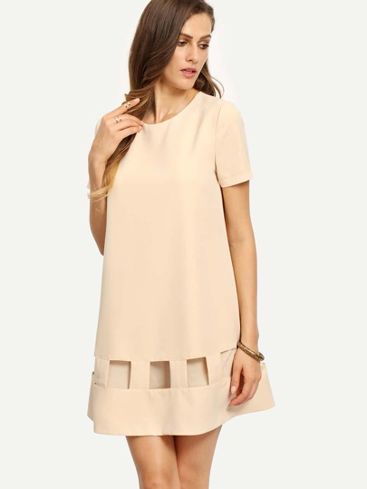 Apricot Short Sleeve Cut Out Shift Dress