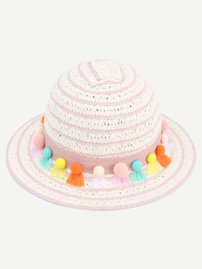 Pink Striped Pom Pom Tassel Embellished Straw Hat
