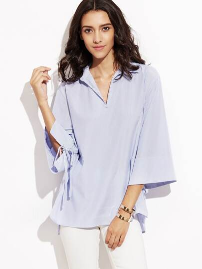 Blue Vertical Striped Kimono Sleeve Boxy Blouse