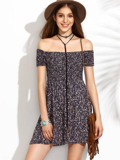 Calico Print Bardot Neckline Flare Dress