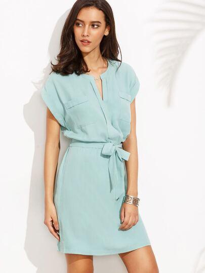 Blue V Notch Self Tie Chiffon Dress