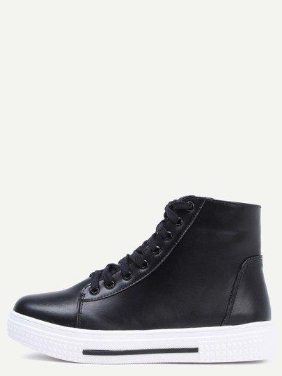 Black Lace Up High Top Zipper Sneakers