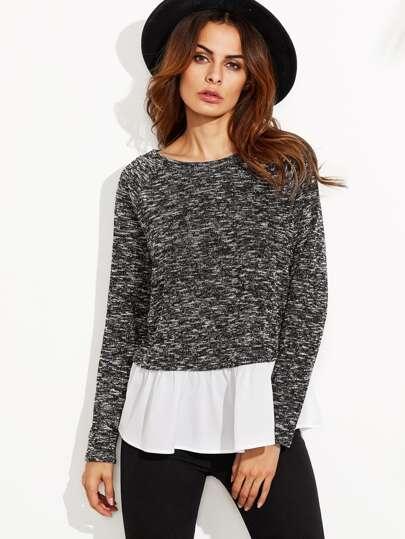 Black Marled Sweatshirt With Contrast Ruffle Trim