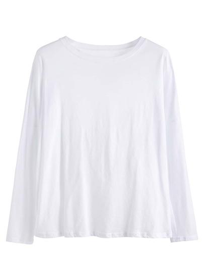 White Drop Shoulder Loose T-shirt