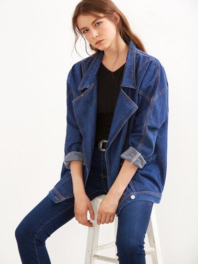 Blue Double Breasted Boyfriend Denim Jacket