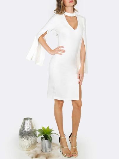 Choker Slit Bodycon Dress WHITE
