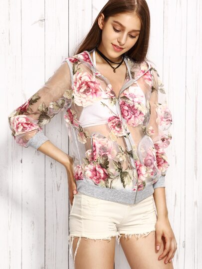 Floral Print Hooded Perspective Zipper Jacket