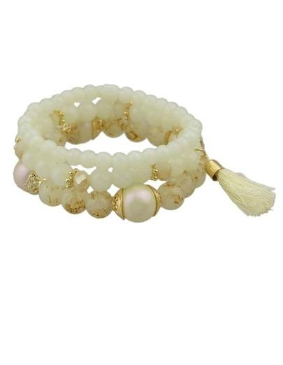White Elastic Beads Bracelet