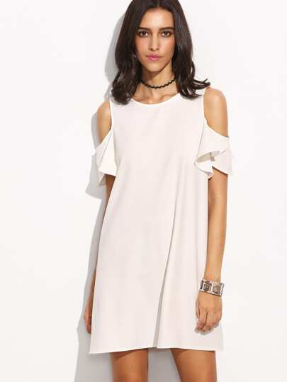 White Cold Shoulder T-shirt Dress