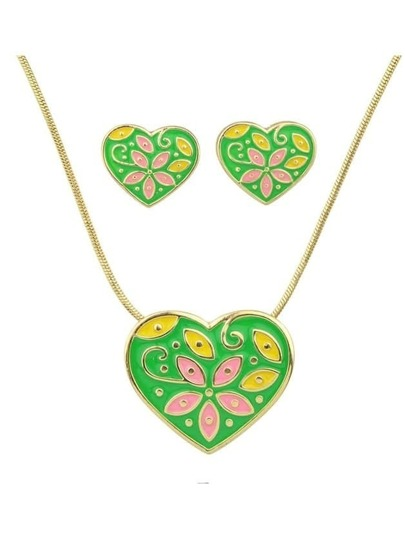 Green Enamel Flower Pattern Heart Necklace Earrings Set