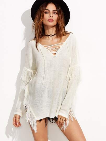 White Lace Up V Neck Drop Shoulder Fringe Sweater