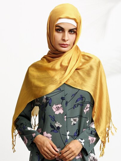 Yellow Fringe Elegant Hijab Scarf