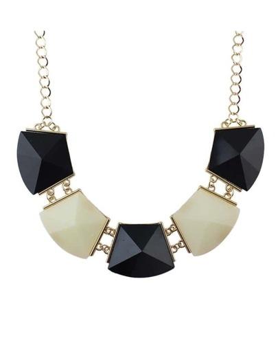 Beigeblack Acrylic Stone Collar Necklace