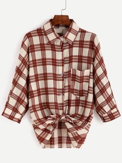 Plaid Pocket Tunic Shirt