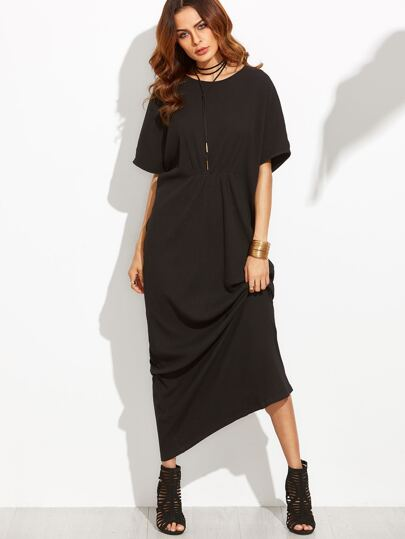 Black Ruched Waist Ribbed Maxi Dress