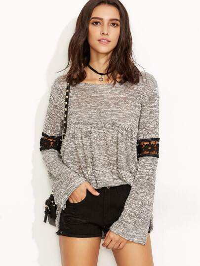 Heather Grey Crochet Inset Hollow Out Sweater