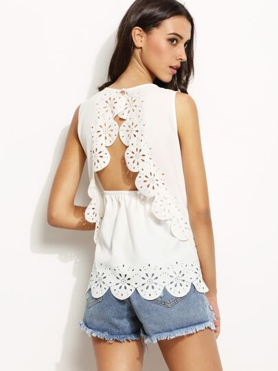 White Scallop Hem Hollow Back Tank Top