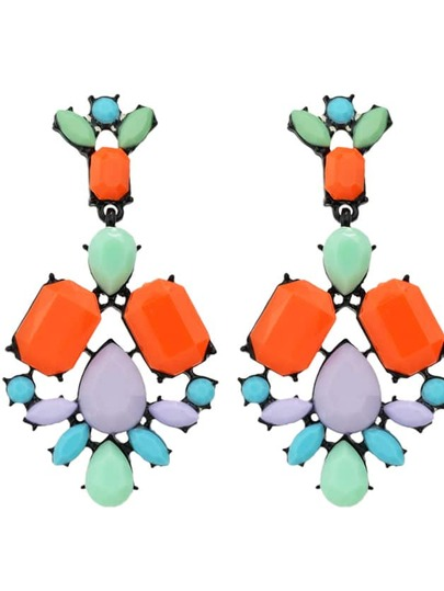 Orange Colorful Resin Stone Flower Statement Drop Earrings