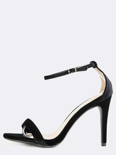Open Toe Velvet Stiletto Heels BLACK