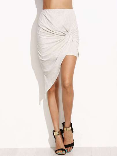 Grey Twist Front Asymmetric Skirt
