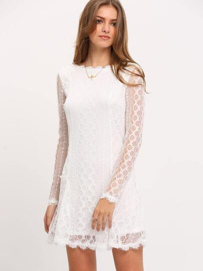 Beige Long Sleeve V Back Lace Dress