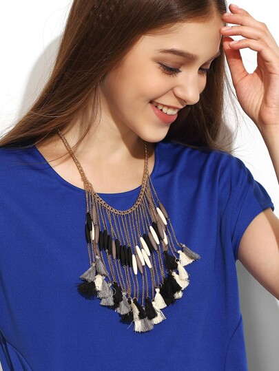Gold Tassel Box Chain Statement Necklace
