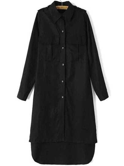 Black Single Breasted High Low Long Coat