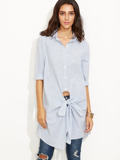 Blue Vertical Striped Tie Front Long Blouse