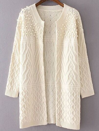 White Cable Knit Beaded Long Sweater Coat