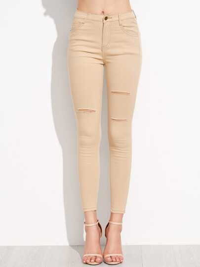 Skinny Jeans mit zerrissenen Design - khaki
