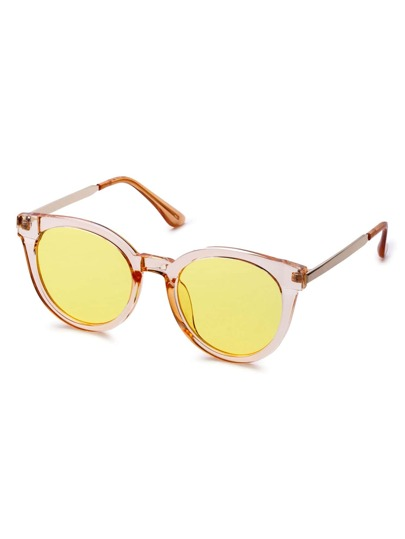 Yellow Lens Clear Cat Eye Frame Sunglasses