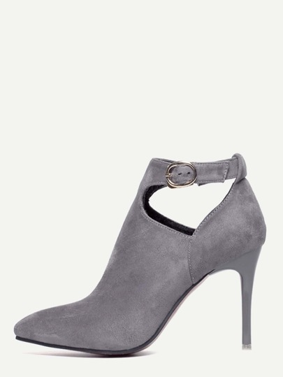 Grey Faux Suede Pointed Toe Ankle Strap Pumps