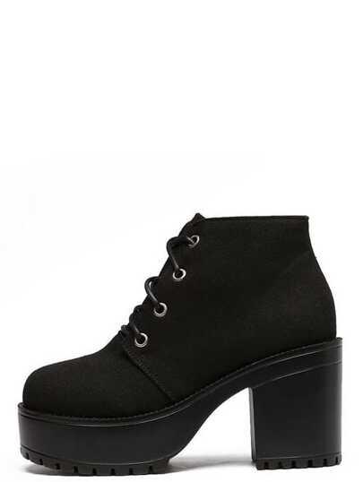 Black Canvas Lace Up Platform Boots