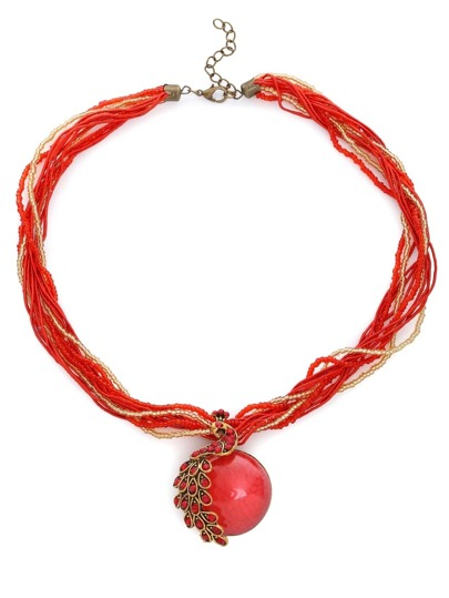 Red Peacock Gemstone Pendant Multi Strand Necklace