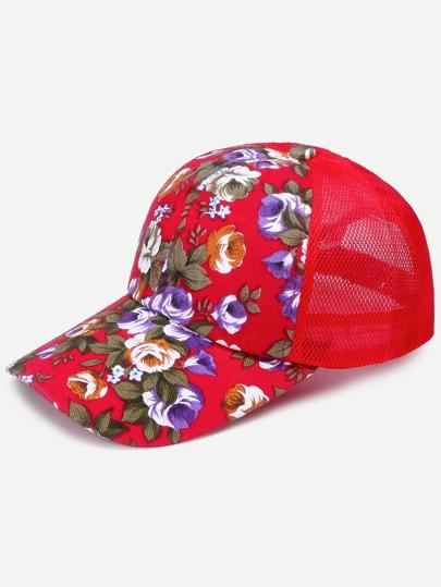 Floral Print Front Red Mesh Snapback Baseball Cap